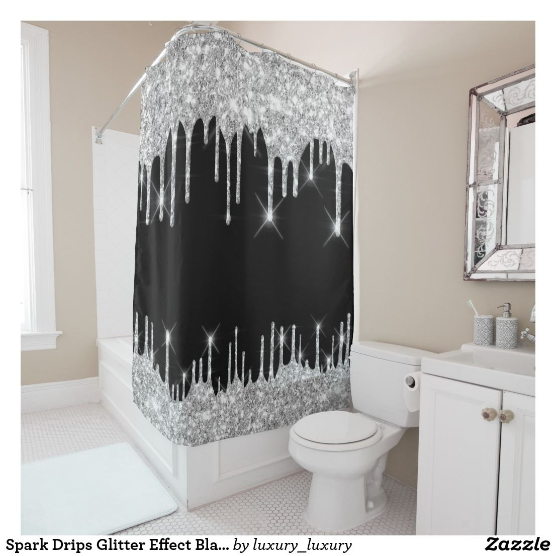 Spark Drips Glitter Effect Black Silver Gray Shower