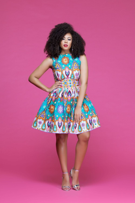 African print sage midi dress