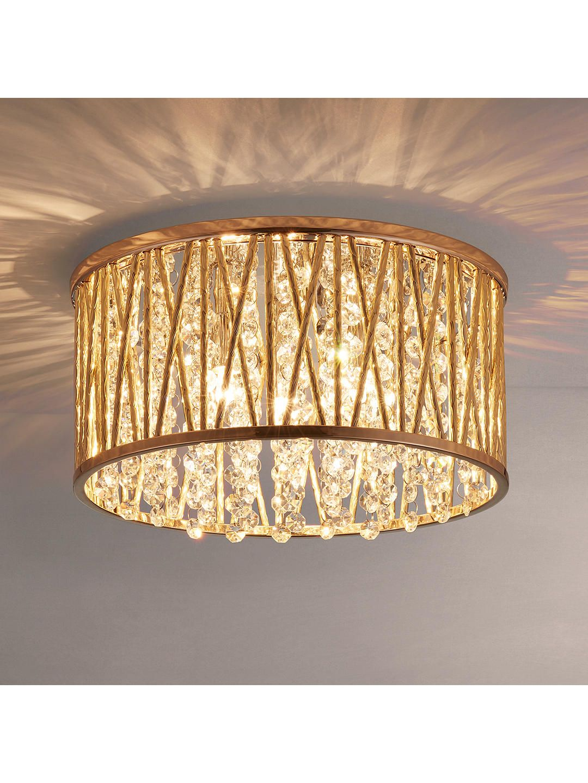 John Lewis Partners Emilia Crystal Drum Flush Ceiling Light Silver Flush Ceiling Lights Ceiling Lights Ceiling