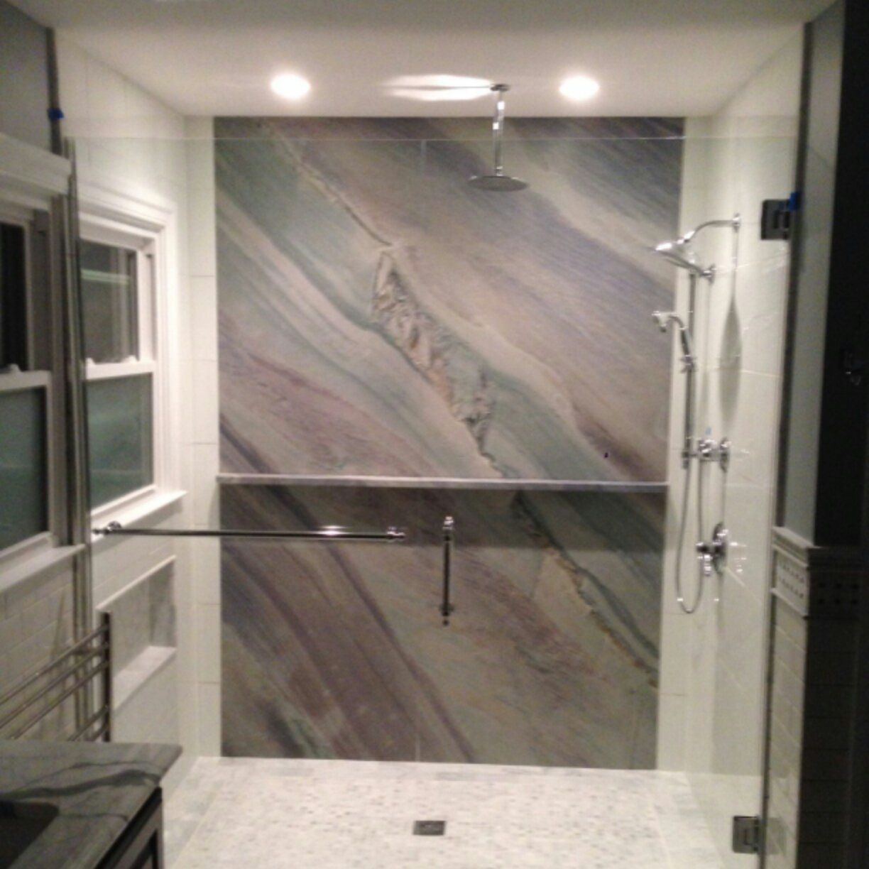 Gem granite bathrooms - This Is A Full Slab Of Granite As The Back Wall For A Custom Shower