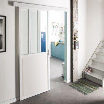 Porte coulissante aluminium blanc Atelier verre clair ARTENS, H204