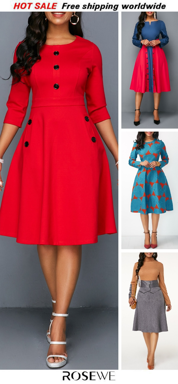 19bfc235003 Pocket Red Button Embellished A Line Dress. New sign-ups get 5% off ...