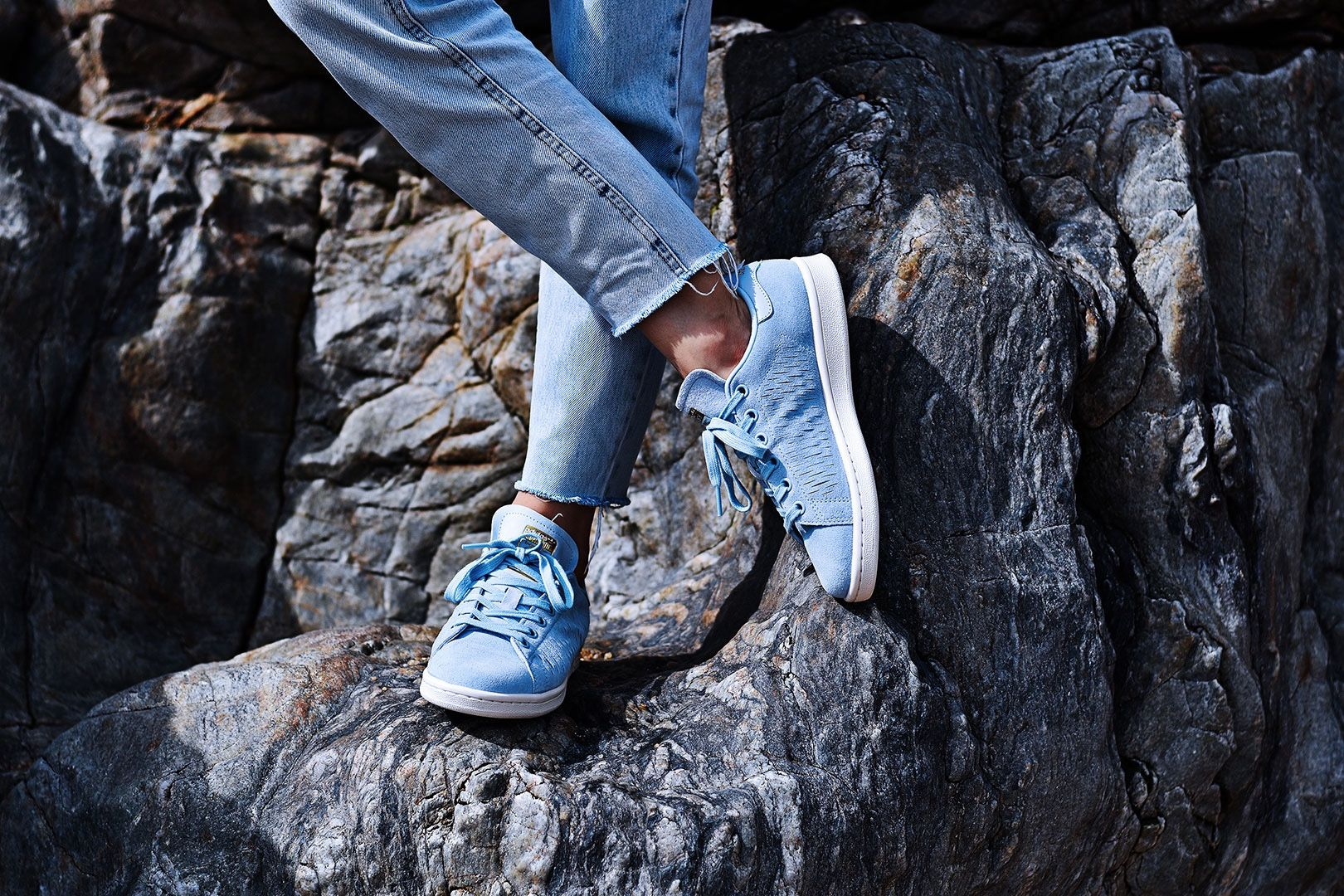 adidas originals easy blue stan smith trainers