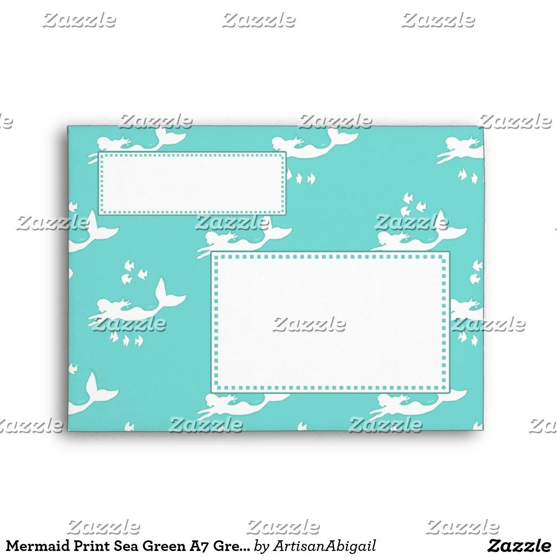 mermaid print sea green a7 greeting card envelopes envelopes