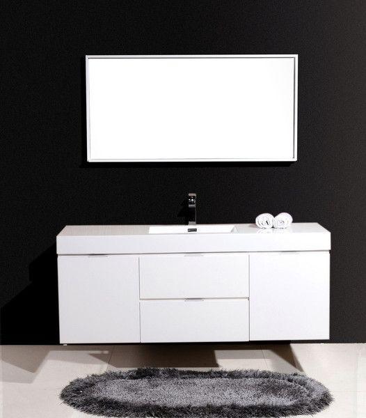 . Bliss 60  High Gloss White Wall Mount Modern Bathroom Vanity   The