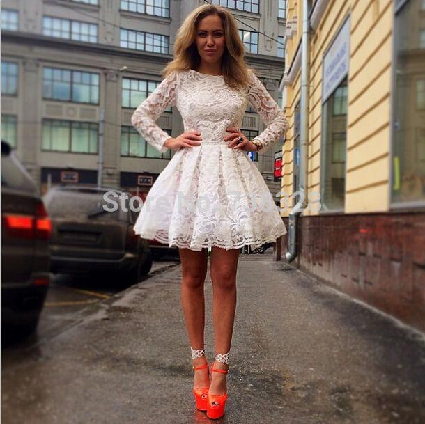 2015 Lace Long Sleeves Homecoming Dresses Cheap Vestido De Festa ...