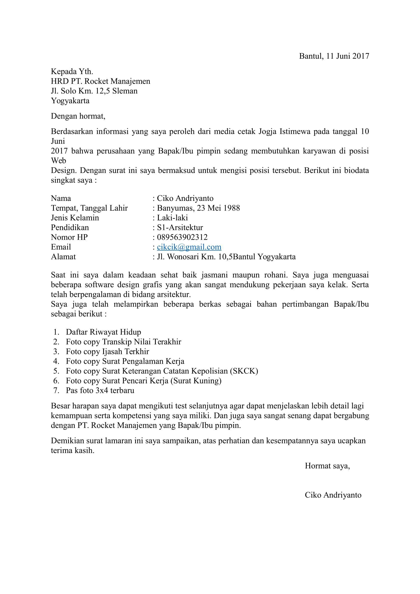 27 Contoh Surat Lamaran Kerja Yang Baik Dan Benar Umum Doc Lengkap Cute766