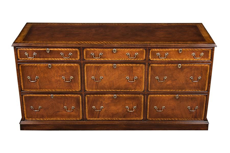 Mahogany File Cabinet Credenza With Six Drawers