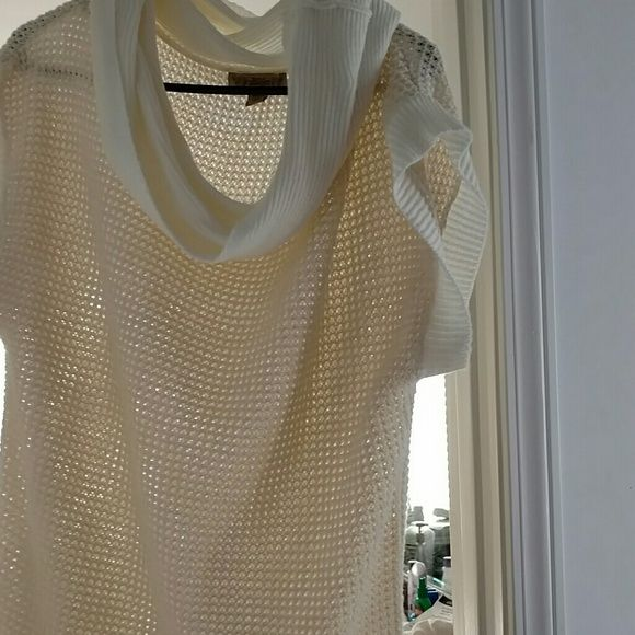 Cowl neck open knit sweater Cute cream sweater with gold threads...never worn Nine West Sweaters Cowl & Turtlenecks