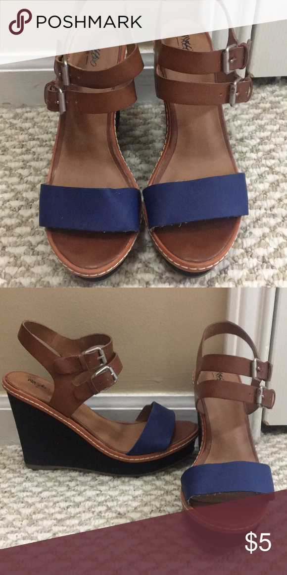 2a719e221b1c Blue Brown Wedges Originally bought from Target. Very comfortable with he double  buckle and pop of blue. Worn maybe twice. Shoes Wedges