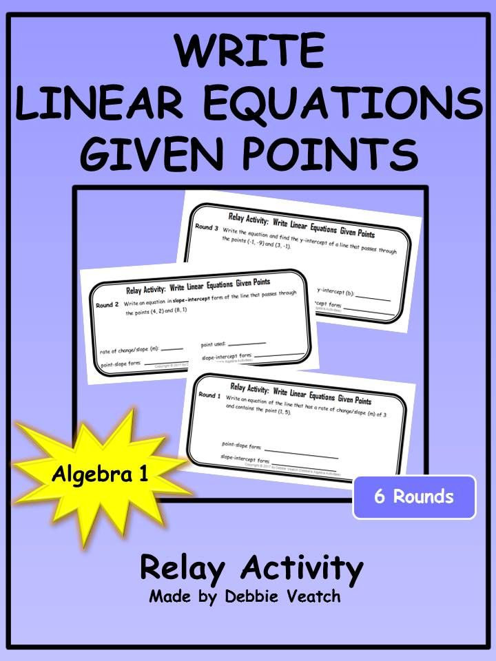 Write Linear Equations Given Points Relay Activity Equation