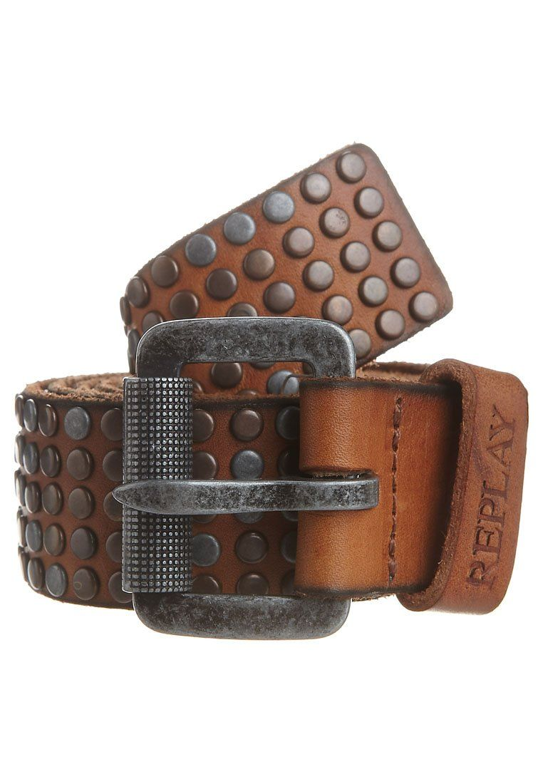 1270c34885 Replay Belt brown with studs.