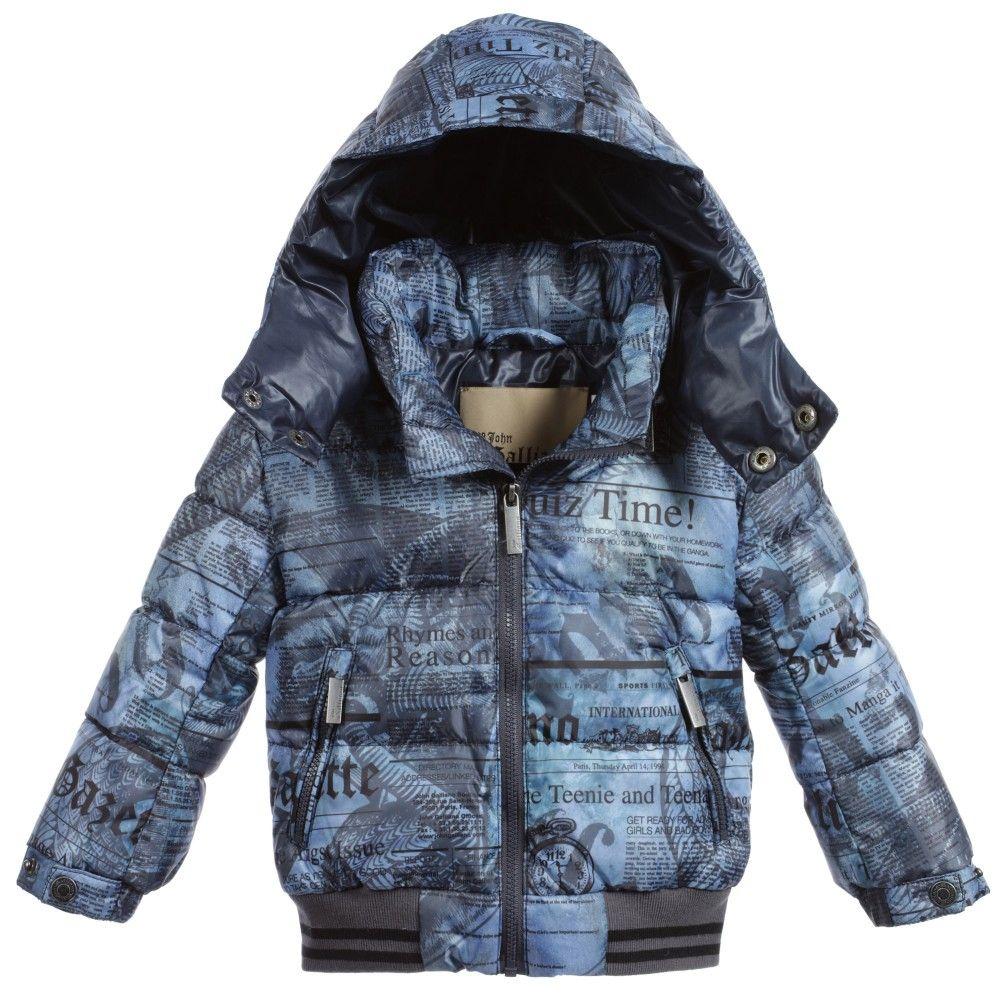 6bae38b4f5f8 Baby Boys Blue Gazette Print Down Padded Jacket