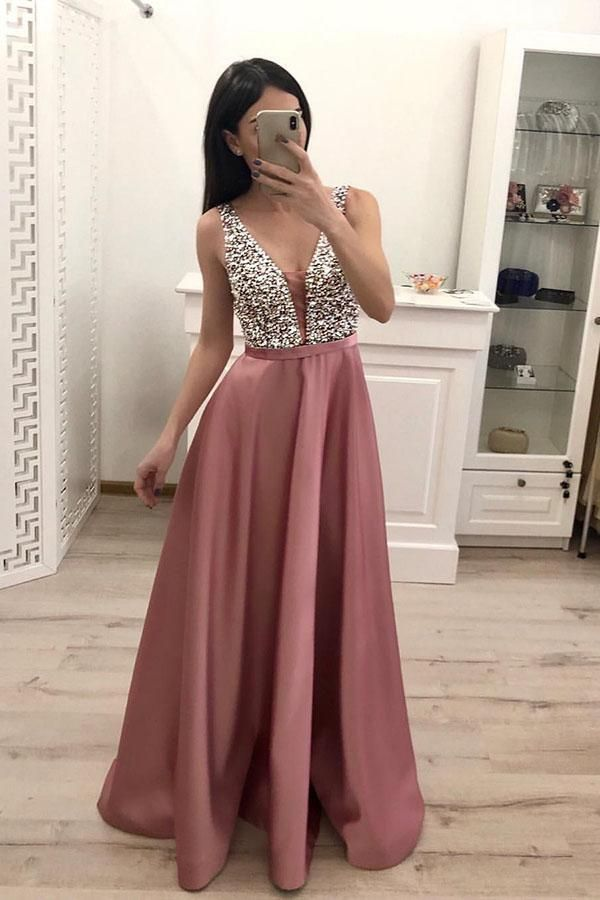 Stunning V Neck Sleeveless Blush Pink Satin Prom Dresses with Beading, Floor Length Evening Dresses