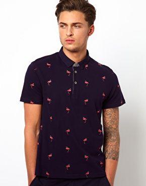 e39418ba2d2 Image 1 of Ted Baker Polo Shirt With Flamingo Print