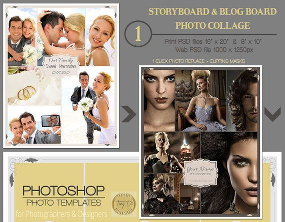 16X20 8X10 Photography Storyboard, Blog Board Template, Photo