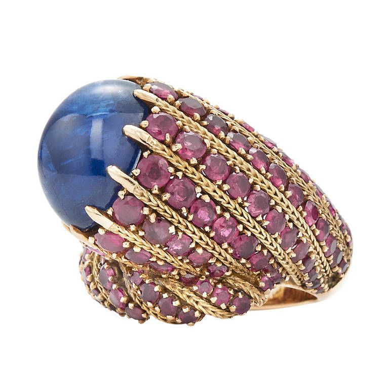 Marchak Cabochon Sapphire Ruby Sculptural Cocktail Ring