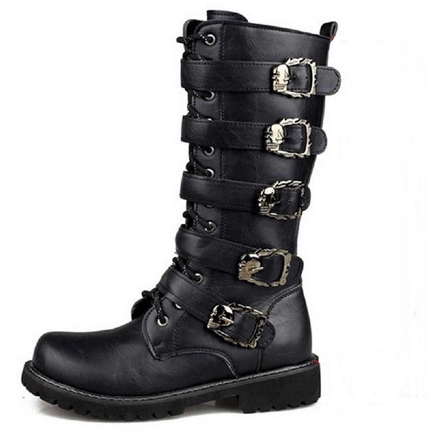 Motorcycle Boots Black Retro Combat Boots with Belt Buckle Punk Rock Leather  Military Boots Martin for