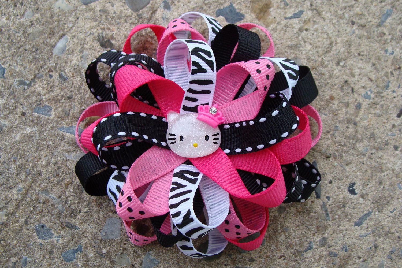 Hello kitty hair bow pink and black hello kitty hair by innavert