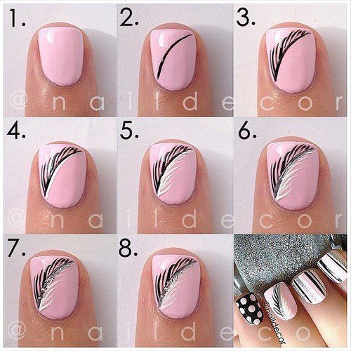 Feather nail art. Really cute and easy. Please visit our website @  http://rainbowloomsale.com - Lovely Nail Tutorials For Spring Feather Nail Art, Feather Nails