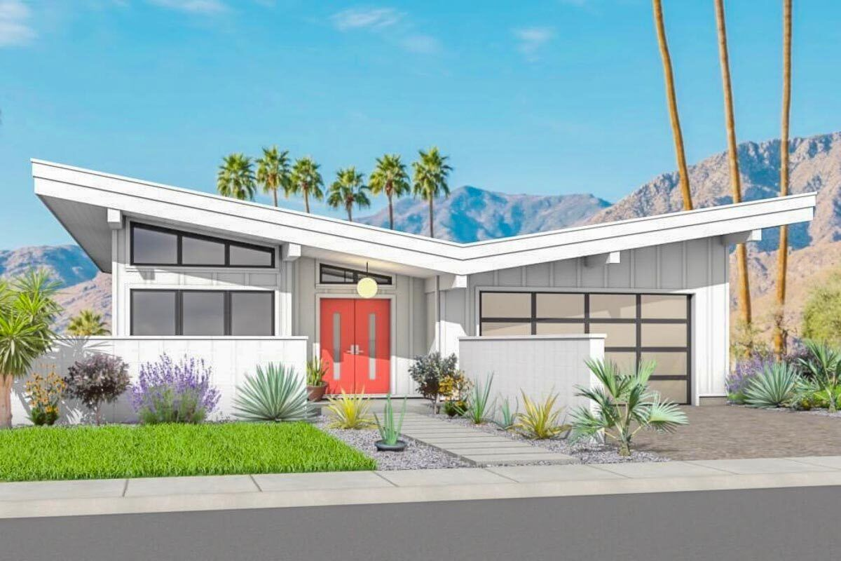 2 Bed Mid Century Modern House Plan with Attached Garage