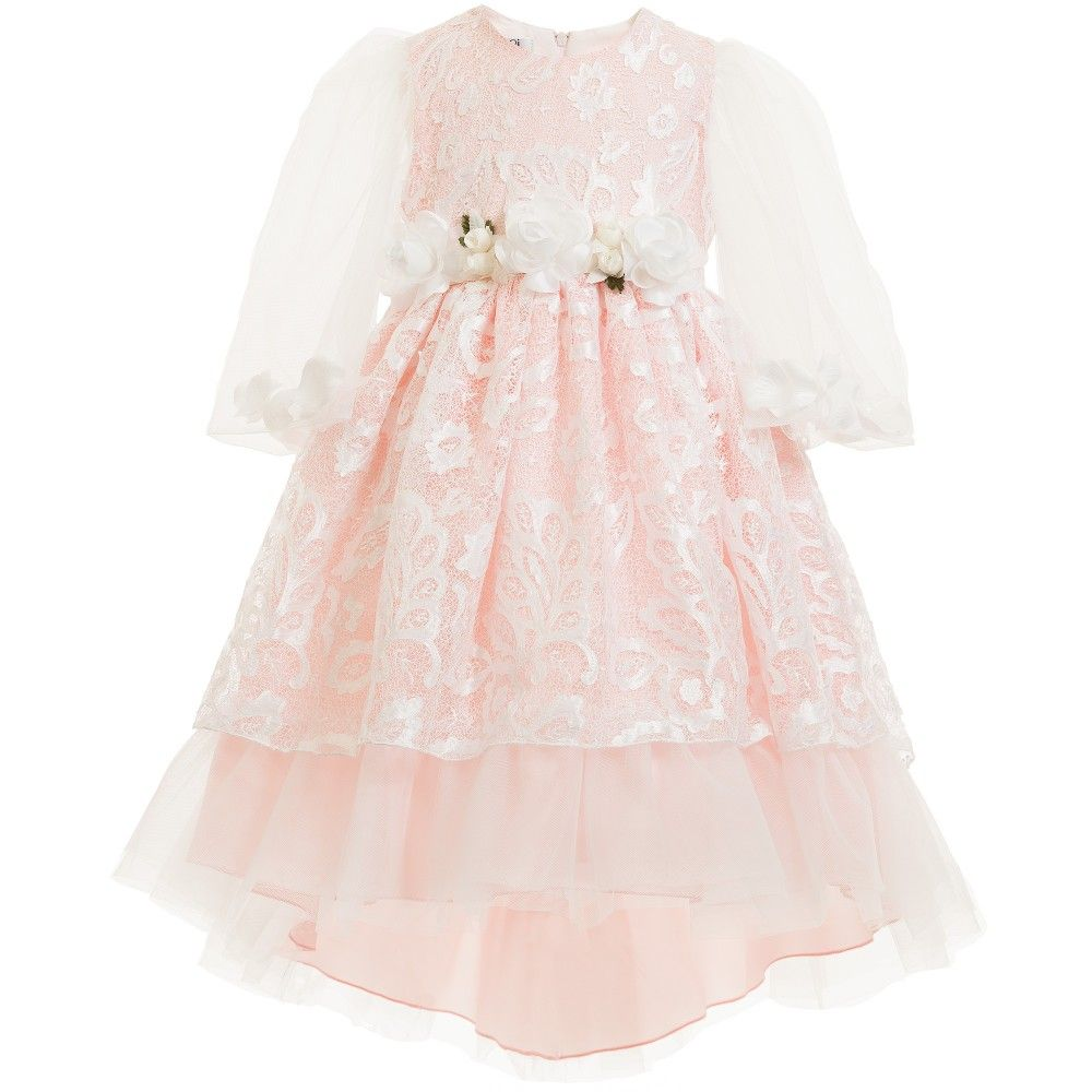 c8bddd401606 Graci Pink Lace Dress with Floral Sleeves at Childrensalon.com ...