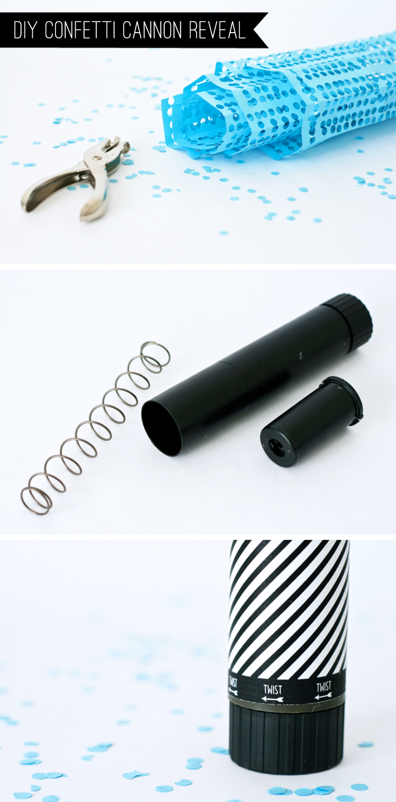 How to make a Confetti Cannon for Baby Gender Reveal Party at PagingSupermom.com #genderreveal #confetti #howtoreveal