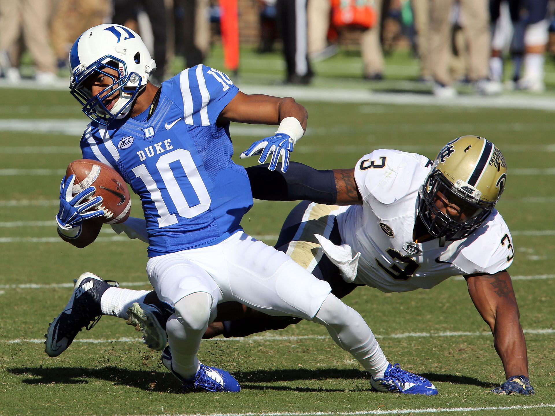 Duke wide receiver Ryan Smith is taken down by Pittsburgh
