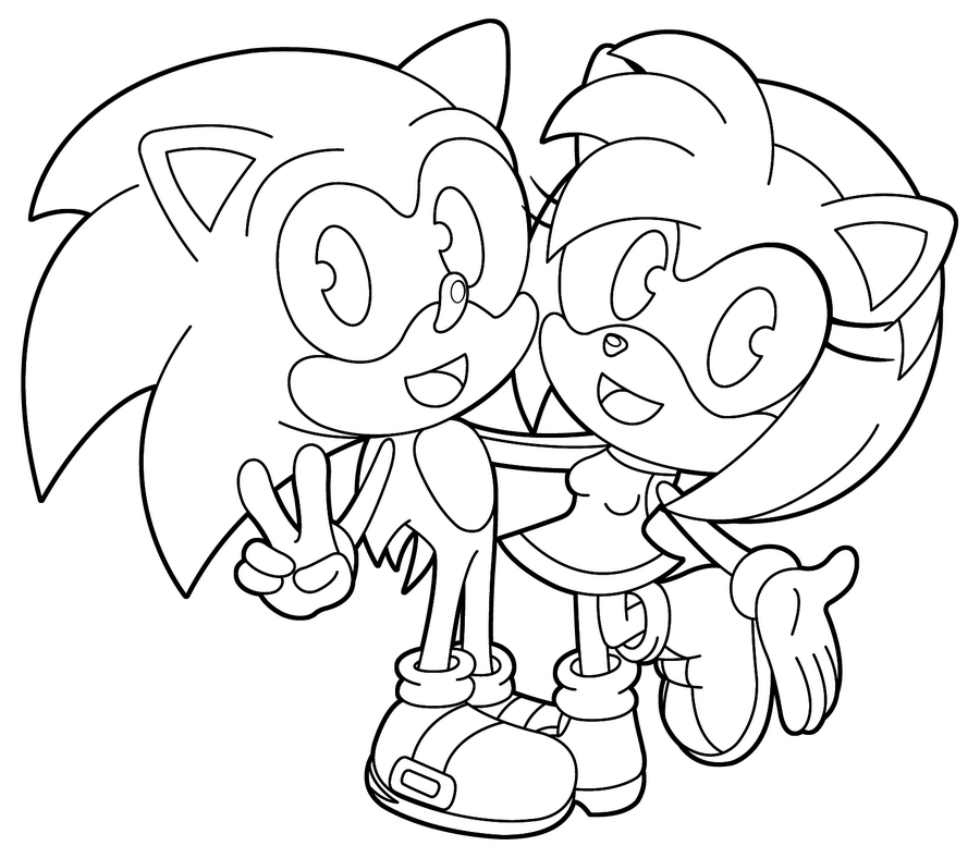 Baby Amy And Baby Sonic Coloring Page In 2020 Coloring Pages