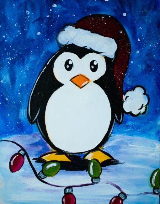 penguin in santa hat pinguin im schnee. Black Bedroom Furniture Sets. Home Design Ideas