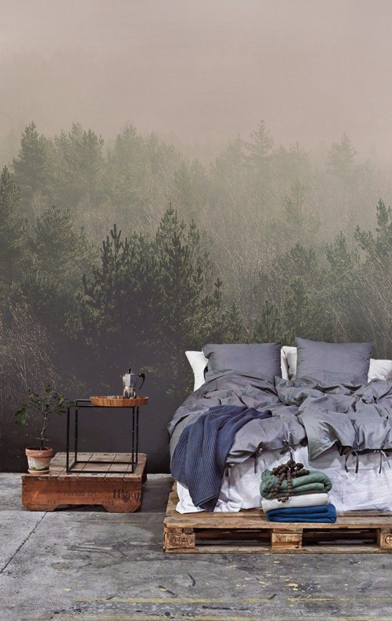 Forest wallpaper for wide open master bedrooms | www.masterbedroomideas.eu |  #luxuryfurniture #exclusivedesign #interiodesign #designideas #masterbedroom #masterbedroomideas #wallpaper #wallpaperdesign