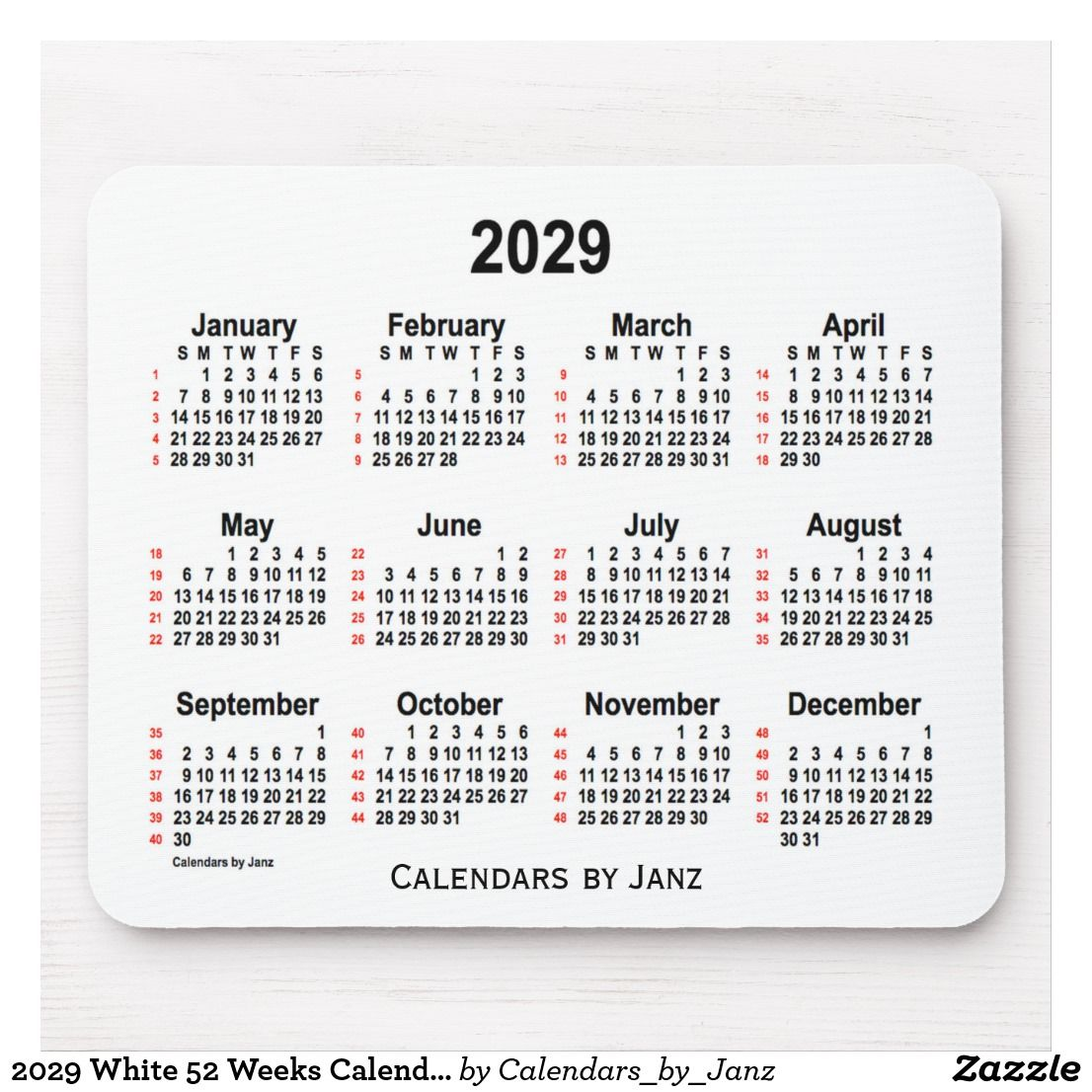 2029 White 52 Weeks Calendar By Janz Mouse Pad Zazzle Com