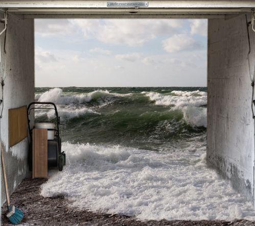 Style Your Garage Creative 3d Garage Doors Stickers: Ocean Garage Door Decal... A Subtle Reminder To Up The