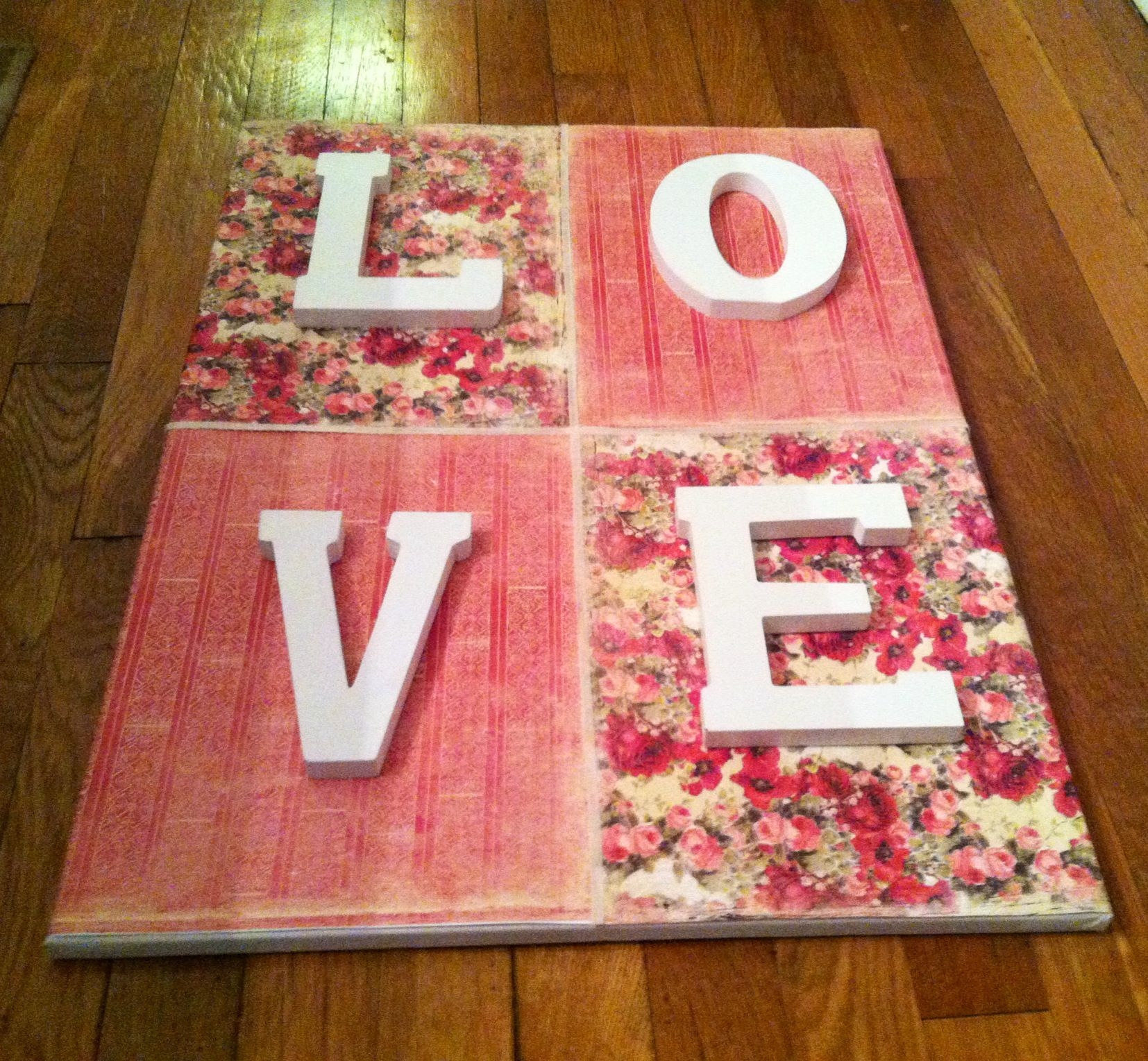 How to glue scrapbook paper to wood letters - Diy Nursery Wall Art Shabby Chic Cottage Rose Love Letters