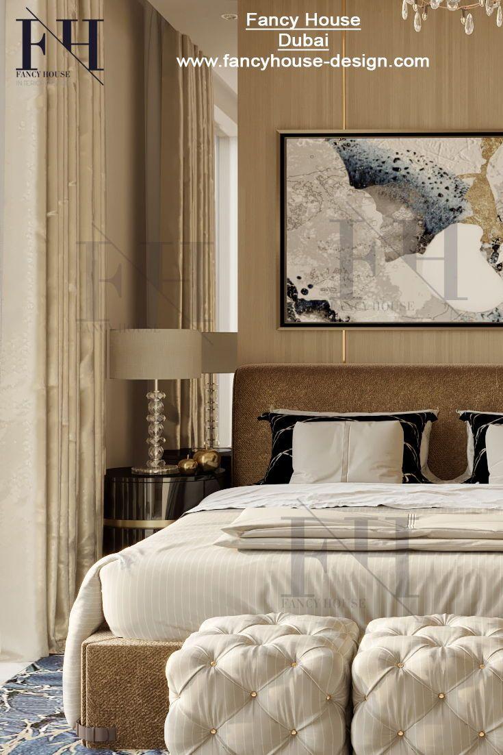 Creative interior architecture for  large bedroom in beige  gold colors get mode design ideas dubai villa modern house interiors also rh pinterest