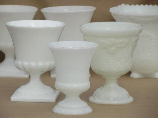 Vintage Milk Glass Vases Lot Urns Old French Milk Glass