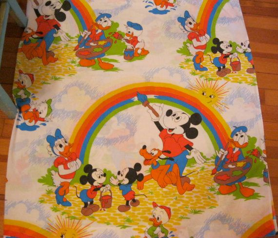 Mickey Mouse Vintage Twin Flat Sheet Disney by VintageSqualor, $16.00