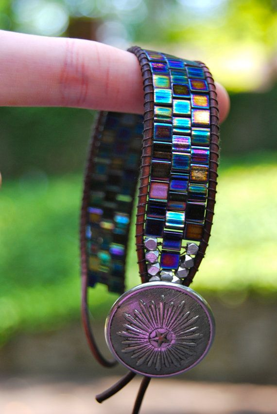 Wrapped Leather Bracelet with Metallic Blue / Purple by MixNPatch, $49.00