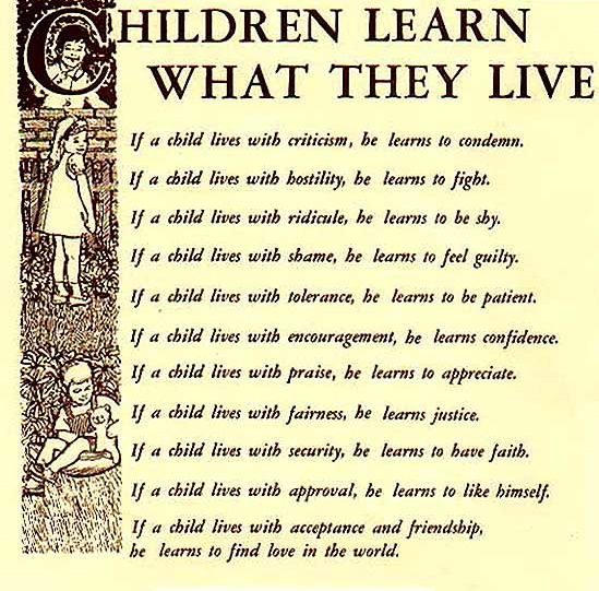children learn what they live printable | ... this made me think ...