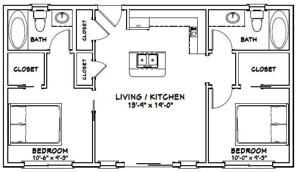 36x20 House 36x20h1e 720 Sq Ft Excellent Floor Plans