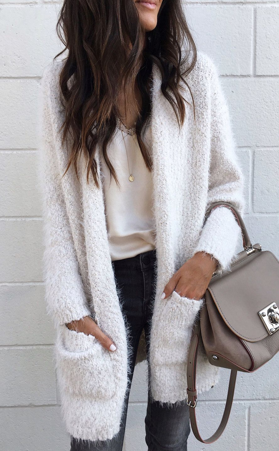 a5aff36597  fall  outfits women s white cardigan and brown leather 2-way bag