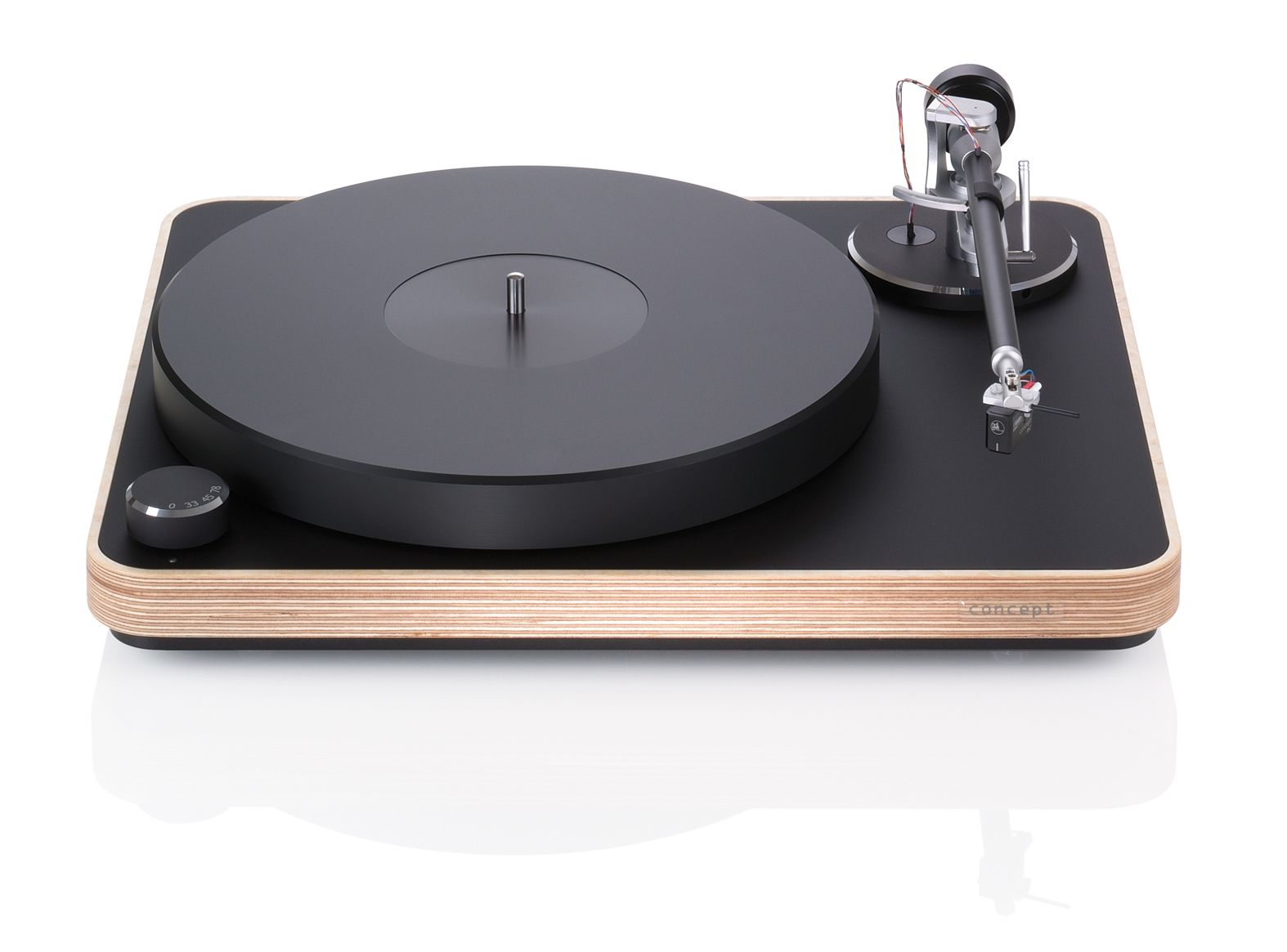 The Clearaudio Concept Wood turntable features an attractive natural baltic  birch finish.