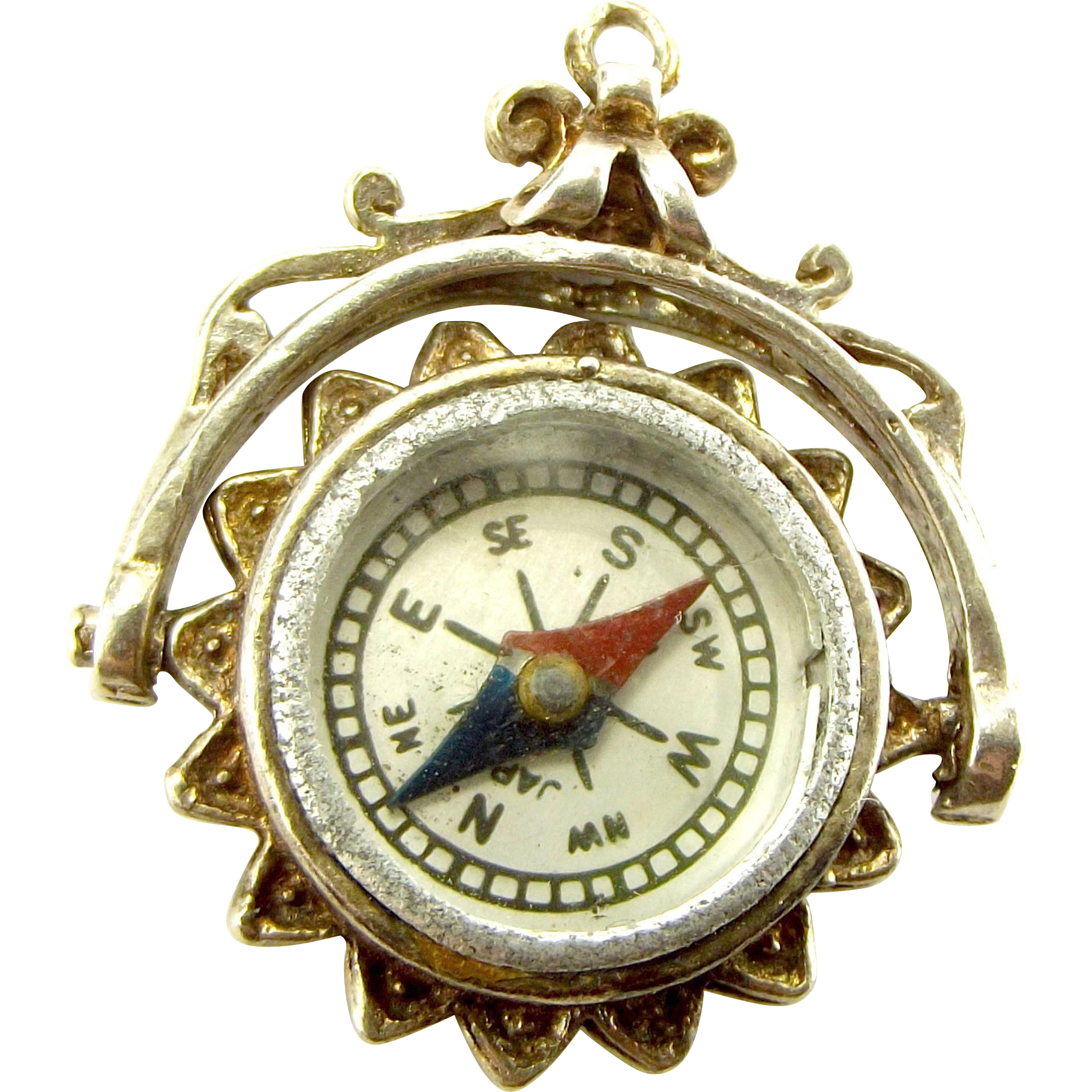 Vintage Silver Ornate Charm Fob Pendant Spinning Compass Works