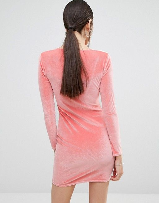 8bec87c171a10 Boohoo Plunge Neck Velvet Bodycon Dress | Greedy & also Angry ...