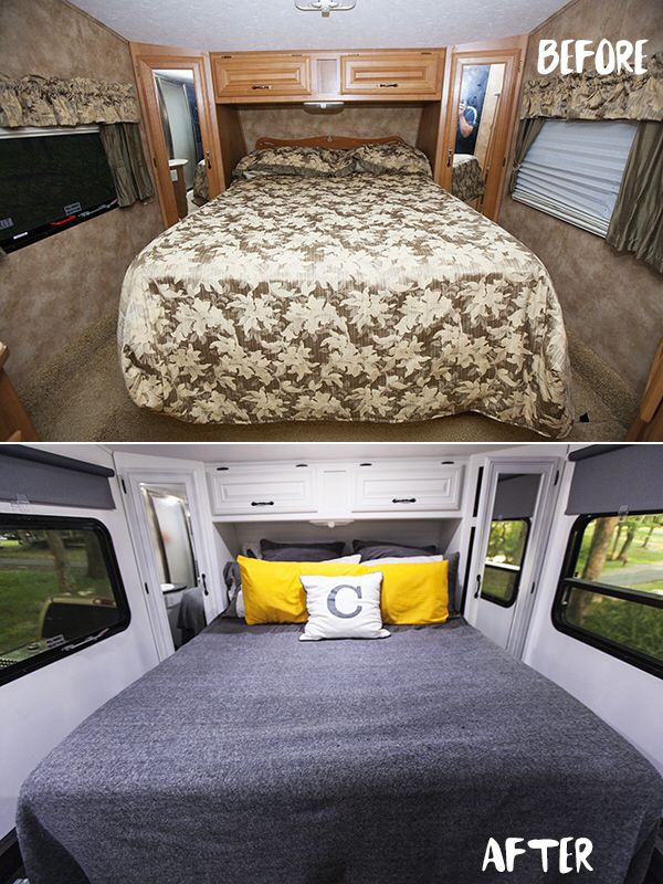 before and after rv bed renovation rv camping pinterest roulotte r novation et renovation. Black Bedroom Furniture Sets. Home Design Ideas