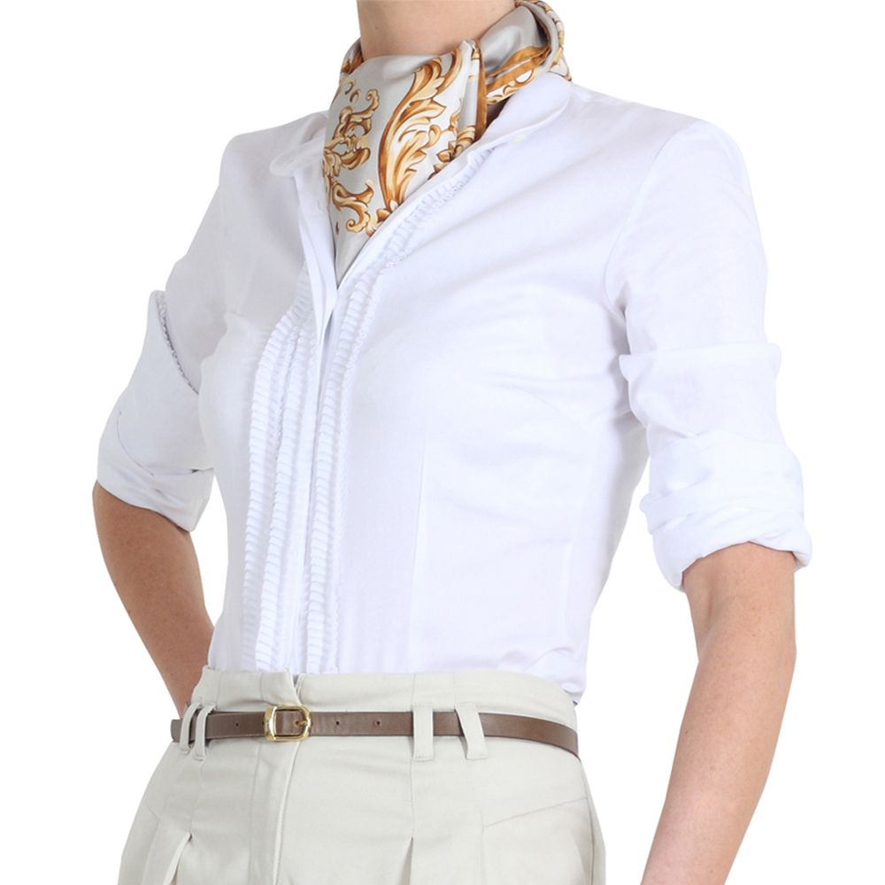 White Work Shirts and scarf http://www.pinstripeandpearls.com ...