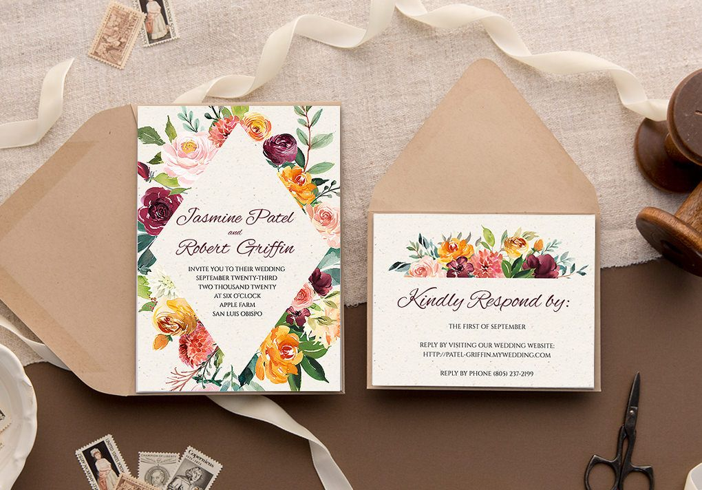 Make Your Own Invitations With Download Print In 2020 Printing Wedding Invitations Wedding Invitations Diy Diy Wedding Invitations Templates