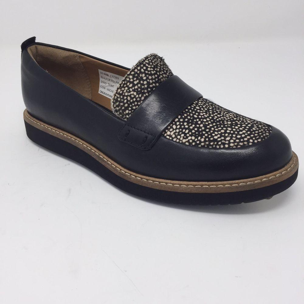 677cdb6cb05 Clarks 6M Glick Avalee Calf Hair Leather Platform Loafers