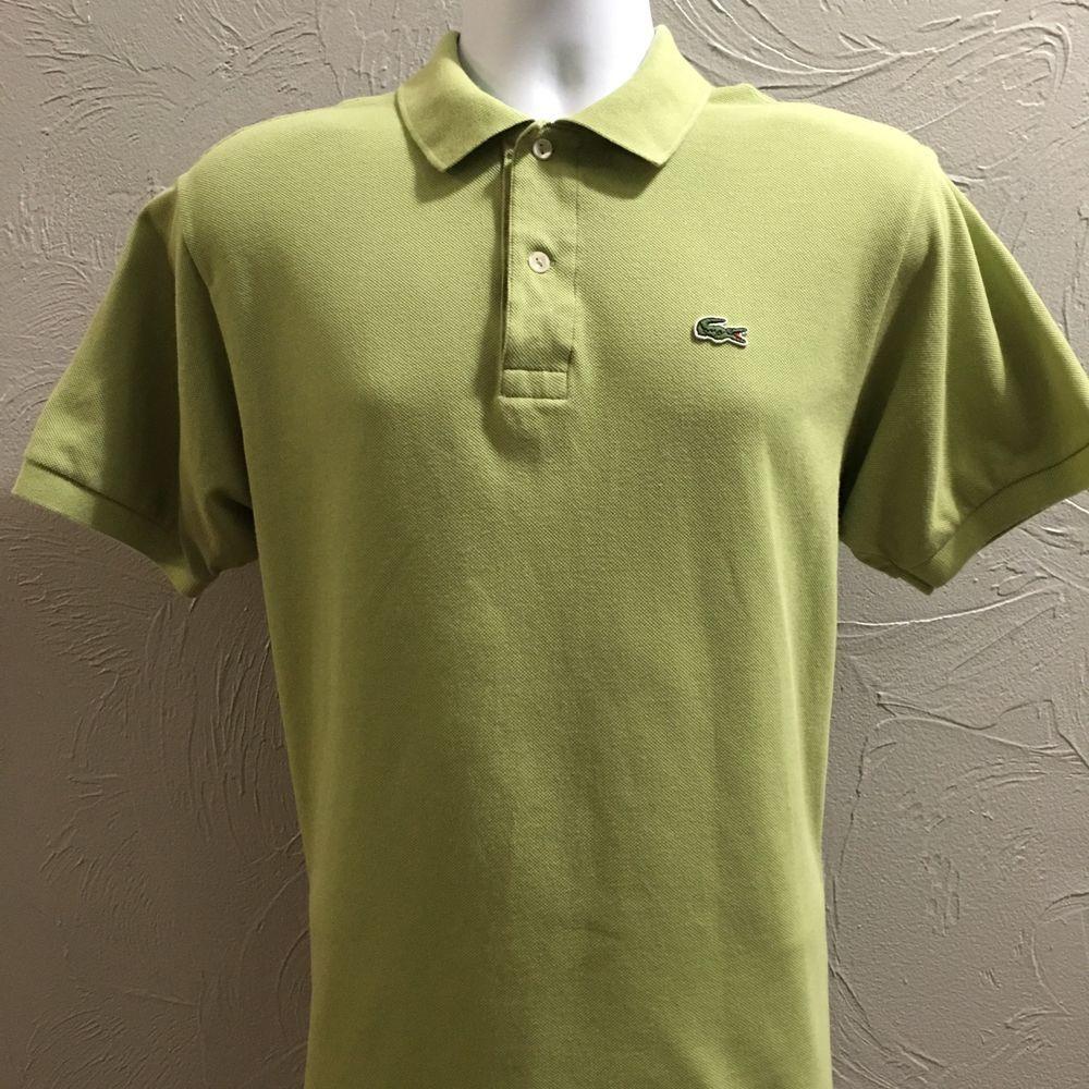 Lacoste France Mens 5 Medium Polo Shirt Light Lime Green Croc Logo