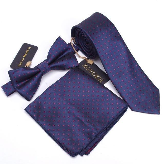 3 PCS Men NeckTie Set Bowtie Slim Suit Set